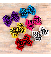 One Solid and Black Wide Chevron Double Bow Hair Clippy #CPA9931-SHIPS ASSORTED