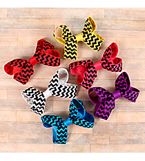 One Set of 2 Solid and Black Chevron Hair Clippies #CPA9940-SHIPS ASSORTED