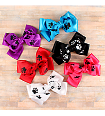 One Solid and Paw Print Double Bow Hair Clippy #CPAK9938-SHIPS ASSORTED