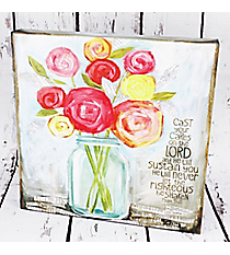 Floral Psalm 55:22 Decor Plaque #CPL002