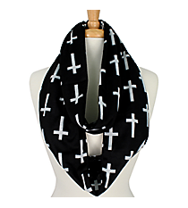 Black Cross Infinity Scarf #CRF589-BLACK