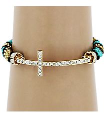 Crystal Goldtone Cross Tri-Color Seed Bead Bracelet #AB6610-IGMT