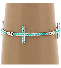 Turquoise Crystal Linked Cross Bracelet #AB6840-STQ