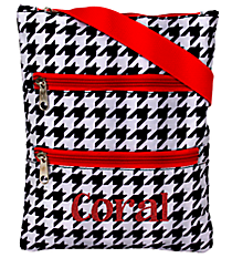 Houndstooth with Red Trim Small Crossbody Bag #MB1-2010-H-R