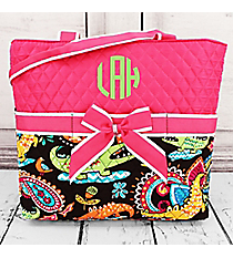 Later Alligator Quilted Diaper Bag with Hot Pink Trim #CRQ2121-HPINK