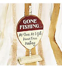 Bobber Shaped 'Gone Fishing' Sign #CSEM0037