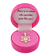 Girl's Snowflake Necklace with Pink Gift Box #CSNF-NK