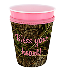 """Mossy Oak and Pink """"Bless Your Heart"""" Cup Cozy #CCOZ-MOP-BLES"""