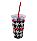Houndstooth with Crimson 16 oz. Double Wall Tumbler with Straw #OMU-SIP-HT