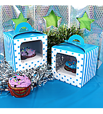 12 Turquoise Striped & Polka Dot Cupcake Boxes with Handles #3/6297