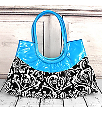 SALE! Brown Damask Wide Handbag with Turquoise Trim #CVBR12TU