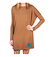 Piko Mocha Oversize Tunic Dress #D2194-MOCHA *Choose Your Size