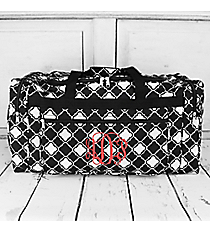 "Black and White Quatrefoil Duffle Bag 22"" #D22-15-BW"