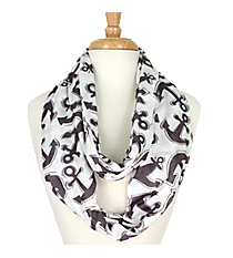 Gray Anchor Infinity Scarf #DAT589-GRAY