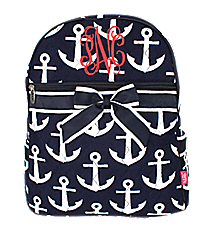 Navy with White Anchors Quilted Large Backpack #DDT2828-NAVY