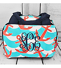 Anchors Away Insulated Bowler Style Lunch Bag with Navy Trim #DDG255-NAVY