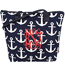 Navy with White Anchors Quilted Shoulder Bag #DDT1515-NAVY