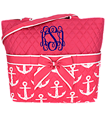 Pink with White Anchors Quilted Diaper Bag #DDP2121-PINK