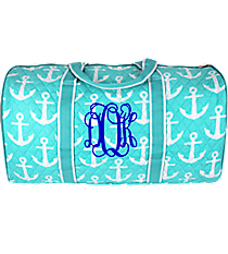 "21"" Aqua with White Anchors Quilted Duffle Bag #AQL2626-AQUA"