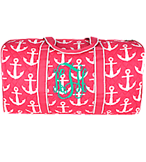 "21"" Pink with White Anchors Quilted Duffle Bag #DDP2626-PINK"