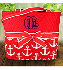Red with White Anchors Quilted Diaper Bag #DDR2121-RED