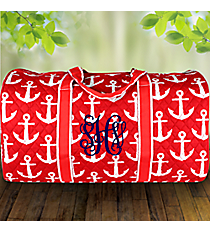 "21"" Red with White Anchors Quilted Duffle Bag #DDR2626-RED"