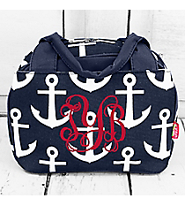 Navy with White Anchors Insulated Bowler Style Lunch Bag #DDT255-NAVY