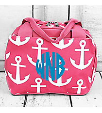 Pink with White Anchors Insulated Bowler Style Lunch Bag #DDT255-PINK