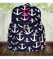 Navy with White Anchors Quilted Petite Backpack #DDT286-NAVY