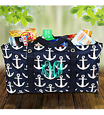 Navy with White Anchors Collapsible Haul-It-All Basket #DDT401-NAVY