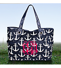 Navy with White Anchors Wide Tote #DDT616-NAVY