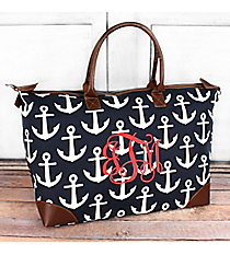 Navy with White Anchors Large Tote Bag #DDT642-NAVY