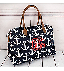Navy with White Anchors Weekender Bag #DDT803-NAVY
