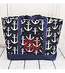 Navy with White Anchors Large Tote Bag #DDT831-NAVY
