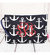 Navy with White Anchors Large Cosmetic Bag #DDT832-NAVY