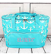 Aqua with White Anchors Cooler Tote with Lid #DDT89-AQUA