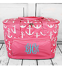 Pink with White Anchors Cooler Tote with Lid #DDT89-PINK