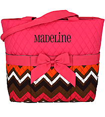 Multi Chevron Quilted Diaper Bag with Hot Pink Trim #MGR2121-H/PINK
