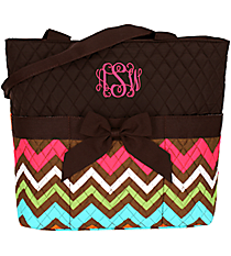 Multi Chevron Quilted Diaper Bag with Brown Trim #MGR2121-BROWN