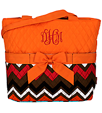Multi Chevron Quilted Diaper Bag with Orange Trim #MGR2121-ORANGE