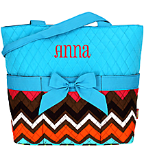 Multi Chevron Quilted Diaper Bag with Turquoise Trim #MGR2121-TURQ