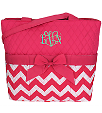 Hot Pink Chevron Quilted Diaper Bag #ZIH2121-H/PINK