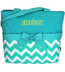 Light Aqua Chevron Quilted Diaper Bag #ZIA2121-L/AQUA