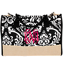 Black Damask and Jute Box Tote #DMSK672-BLACK