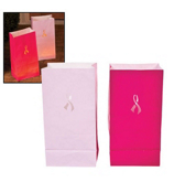 One Dozen Pink Ribbon Luminary Bags #3/3167