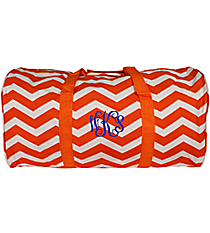"Orange and White Chevron 22"" Duffle Bag #1022-165-OR/W"