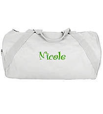 "18"" White Barrel-Sided Duffle Bag #8805-WHITE"