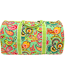 "21"" Paisley Chick Quilted Duffle Bag with Lime Trim #BRQ2626-LIME"