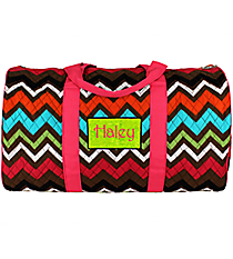"21"" Multi Chevron Quilted Duffle Bag with Hot Pink Trim #MGR2626-H/PINK"