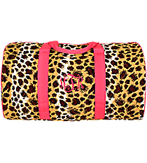 "21"" Leopard Quilted Duffle Bag with Hot Pink Trim #RP2626-HPINK"